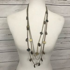 Three Strand Tri Color Necklace Long